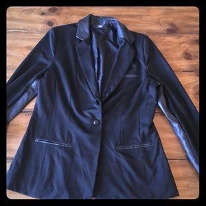 Mossimo women's one button blazer leather trim